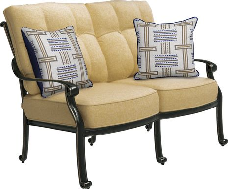 Cindy Crawford Home Lake Como Antique Bronze Outdoor Loveseat with Gold Cushions