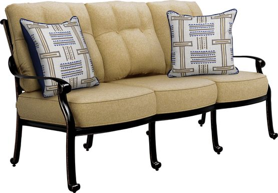 Cindy Crawford Home Lake Como Antique Bronze Outdoor Sofa with Gold Cushions
