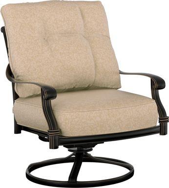 Cindy Crawford Home Lake Como Antique Bronze Outdoor Swivel Rocker Chair With Mushroom Cushions