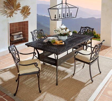 Cindy Crawford Home Lake Como Antique Bronze 5 Pc 72-102 In. Rectangle Outdoor Dining Set