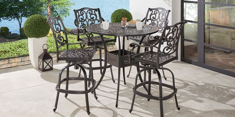 Cindy Crawford Home Lake Como Antique Bronze Round 5 Pc Outdoor Bar Height Dining Set