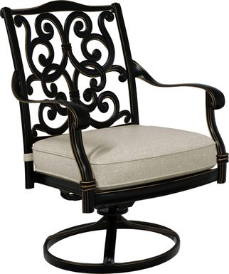Cindy Crawford Home Lake Como Antique Bronze Swivel Rocker Arm Chair with Ash Cushion