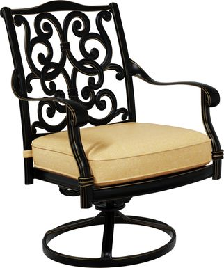 Cindy Crawford Home Lake Como Antique Bronze Swivel Rocker Arm Chair with Gold Cushion