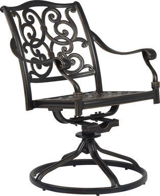 Cindy Crawford Home Lake Como Antique Bronze Swivel Rocker Arm Chair