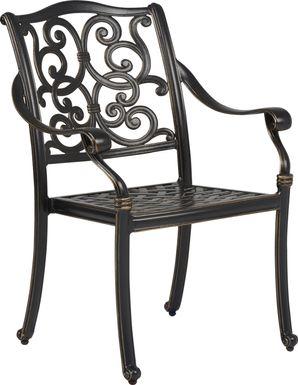 Cindy Crawford Home Lake Como Antique Bronze  Cast Arm Chair