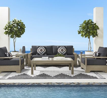Cindy Crawford Home Lake Tahoe Gray 4 Pc Outdoor Seating Set - Sofa with Char Cushions