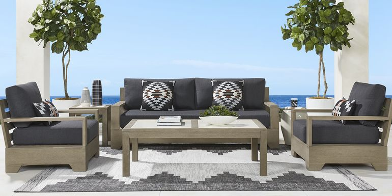 Cindy Crawford Home Lake Tahoe Gray 4 Pc Outdoor Seating Set with Char Cushions