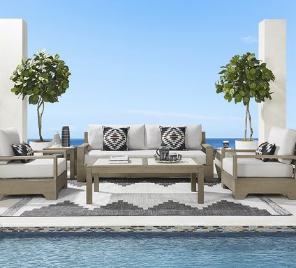 Cindy Crawford Home Lake Tahoe Gray 4 Pc Outdoor Seating Set - Sofa with Seagull Cushions