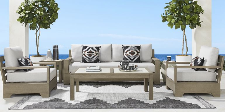 Cindy Crawford Home Lake Tahoe Gray 4 Pc Outdoor Seating Set with Seagull Cushions