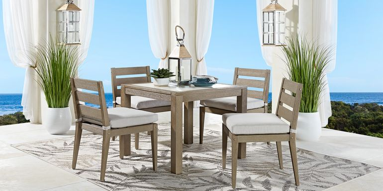 Cindy Crawford Home Lake Tahoe Gray 5 Pc Square Outdoor Dining Set with Beige Cushions