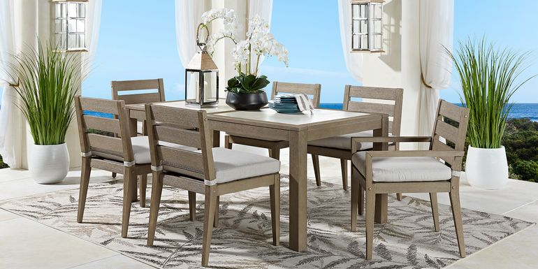 Cindy Crawford Home Lake Tahoe Gray 7 Pc Rectangle Outdoor Dining Set with Beige Cushions