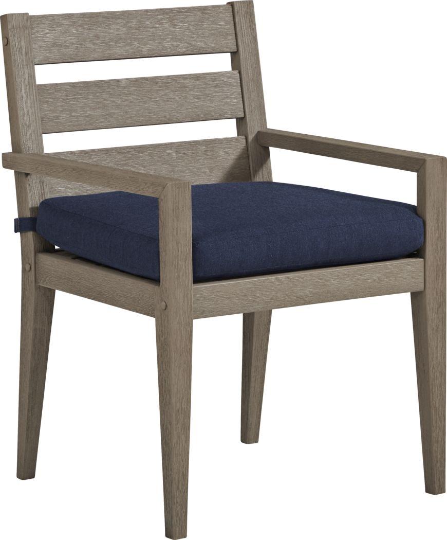 Cindy Crawford Home Lake Tahoe Gray Outdoor Arm Chair with Indigo Cushion