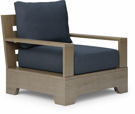 Cindy Crawford Home Lake Tahoe Gray Outdoor Club Chair with Indigo Cushions
