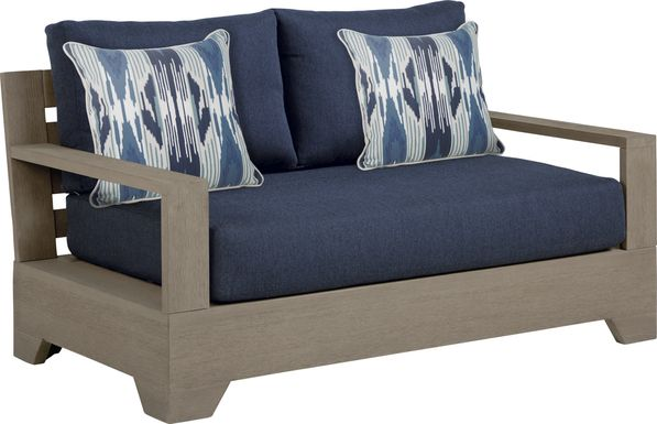 Cindy Crawford Home Lake Tahoe Gray Outdoor Loveseat with Indigo Cushions