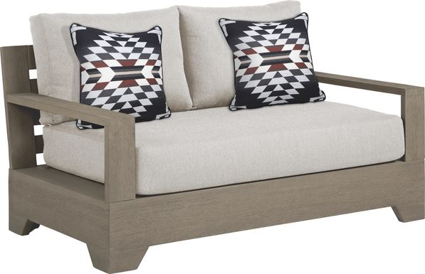 Cindy Crawford Home Lake Tahoe Gray Outdoor Loveseat with Seagull Cushions