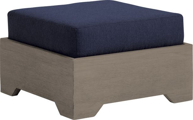 Cindy Crawford Home Lake Tahoe Gray Outdoor Ottoman with Indigo Cushion