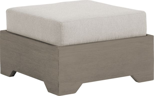 Cindy Crawford Home Lake Tahoe Gray Outdoor Ottoman with Seagull Cushion