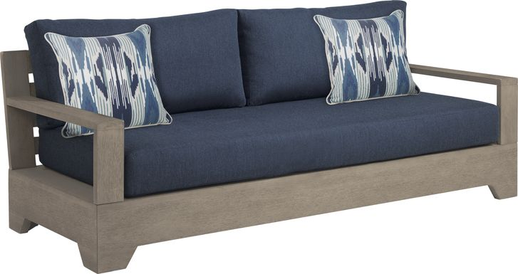 Cindy Crawford Home Lake Tahoe Gray Outdoor Sofa with Indigo Cushions