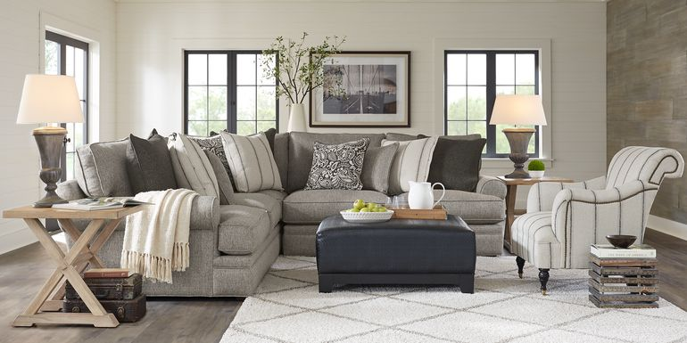 Cindy Crawford Home Lincoln Square Gray 3 Pc Sectional
