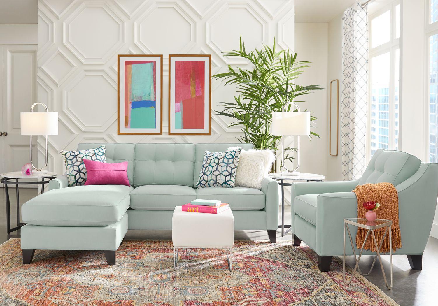 Cindy Crawford Home Madison Place Aqua 2 Pc Gel Foam Sleeper Chaise Sofa