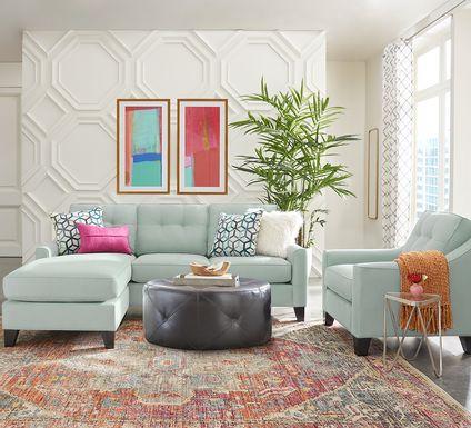Cindy Crawford Home Madison Place Aqua Microfiber 3 Pc Sectional Living Room