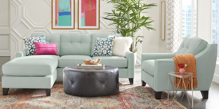 Cindy Crawford Home Madison Place Aqua Microfiber 3 Pc Sectional Living Room