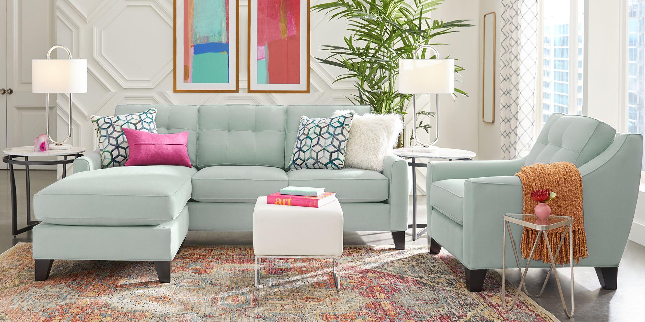 Cindy Crawford Home Madison Place Aqua Microfiber Chaise Sofa