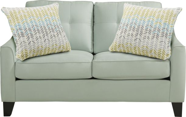 Cindy Crawford Home Madison Place Aqua Microfiber Loveseat