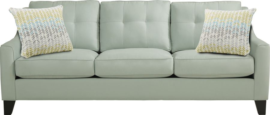 Cindy Crawford Home Madison Place Aqua Microfiber Sofa