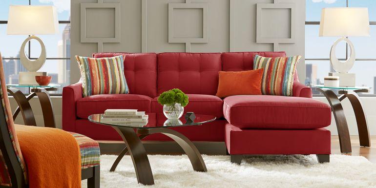 Cindy Crawford Home Madison Place Cardinal Microfiber Gel Foam Sleeper Chaise Sofa
