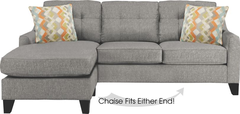 Cindy Crawford Home Madison Place Gray Textured Gel Foam Sleeper Chaise Sofa