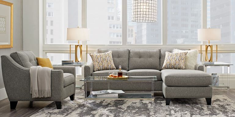 Cindy Crawford Home Madison Place Gray Textured 3 Pc Sectional Living Room