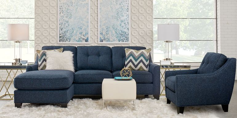 Cindy Crawford Home Madison Place Midnight Textured 3 Pc Sectional Living Room