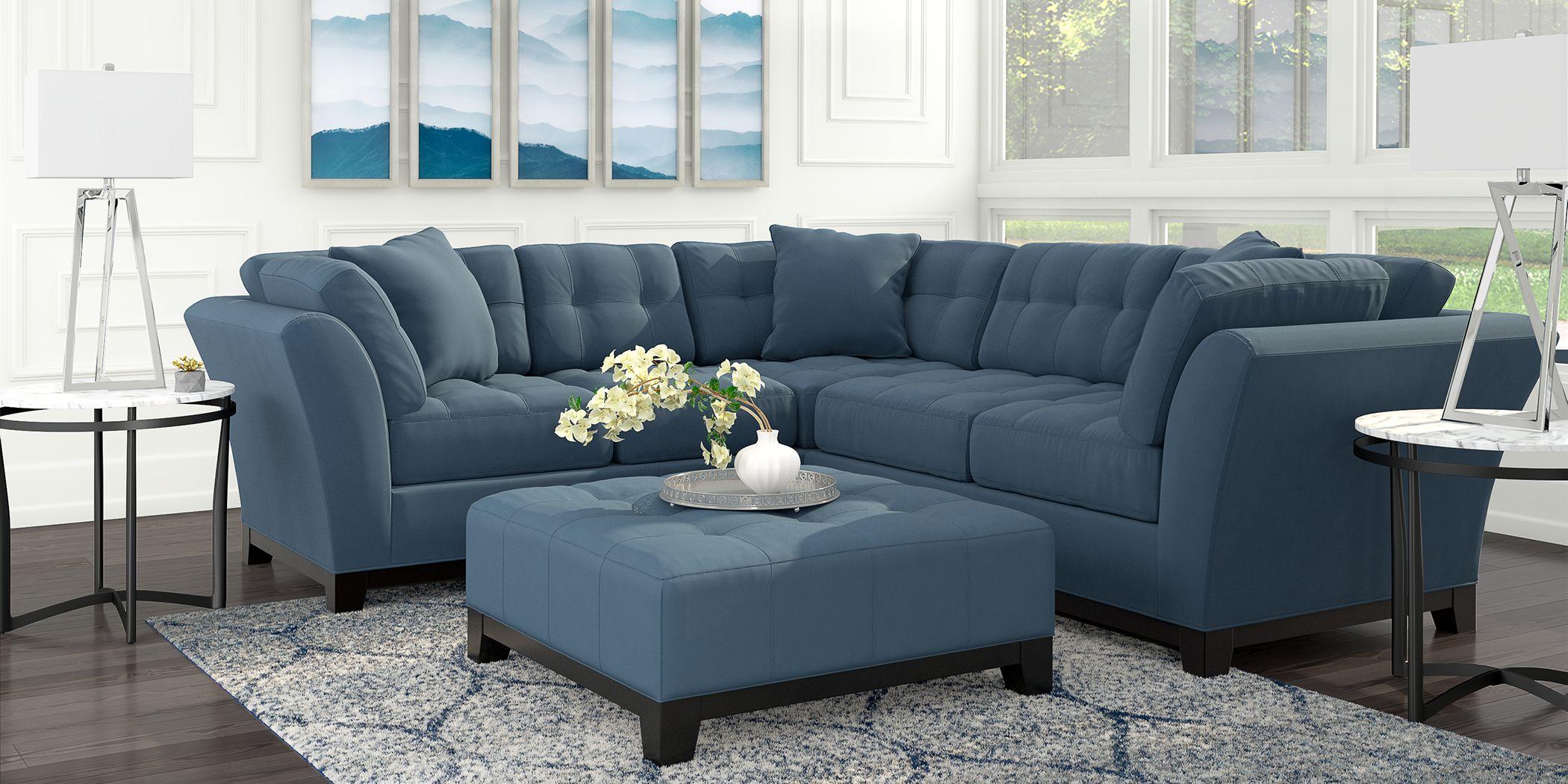 Cindy Crawford Home Metropolis Indigo 3 Pc Sectional Living Room