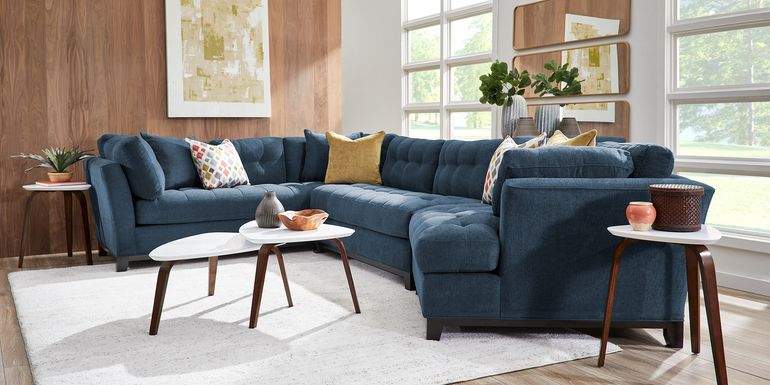 Cindy Crawford Home Metropolis Way Dark Blue Textured 3 Pc Sectional with Cuddler
