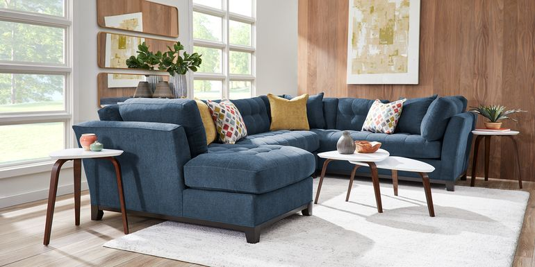 Cindy Crawford Home Metropolis Way Dark Blue Textured 3 Pc Sectional