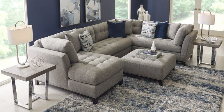 Cindy Crawford Home Metropolis Way Gray Textured 3 Pc Sectional