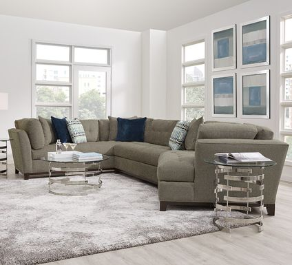 Cindy Crawford Home Metropolis Way Gray Textured 3 Pc Sectional with Cuddler