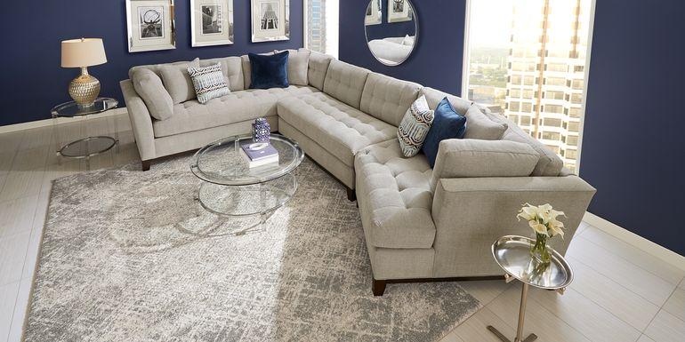 Cindy Crawford Home Metropolis Way Platinum Textured 3 Pc Sectional with Cuddler