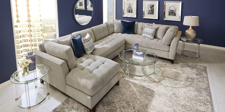 Cindy Crawford Home Metropolis Way Platinum Textured 3 Pc Sectional