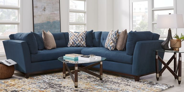 Cindy Crawford Home Metropolis Way Sapphire Microfiber 2 Pc Sectional