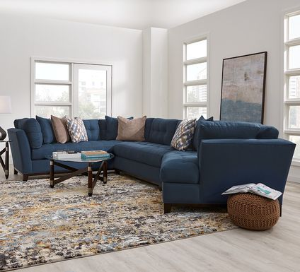 Cindy Crawford Home Metropolis Way Sapphire Microfiber 3 Pc Sectional with Cuddler