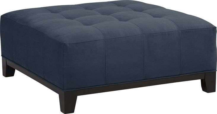 Cindy Crawford Home Metropolis Way Sapphire Microfiber Cocktail Ottoman