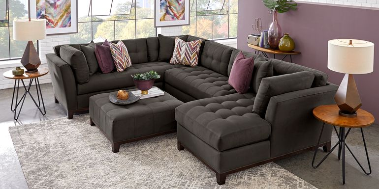 Cindy Crawford Home Metropolis Way Slate Microfiber 3 Pc Sectional