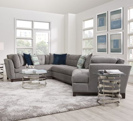 Cindy Crawford Home Metropolis Way Steel Microfiber 3 Pc Sectional with Cuddler