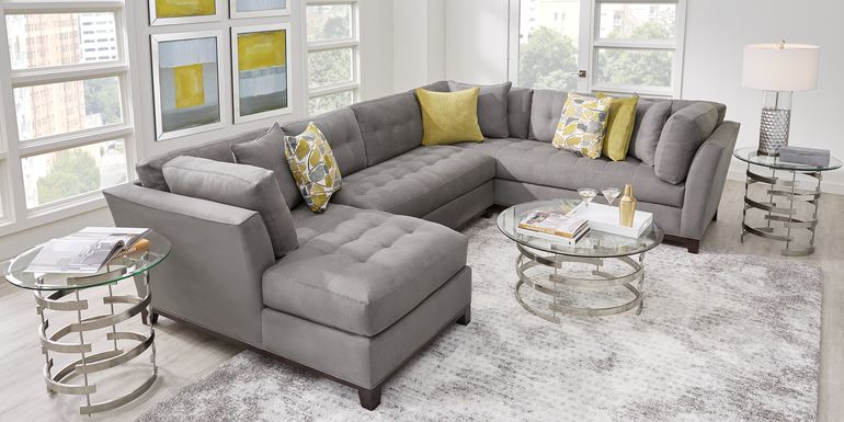 Cindy Crawford Home Metropolis Way Steel Microfiber 3 Pc Sectional