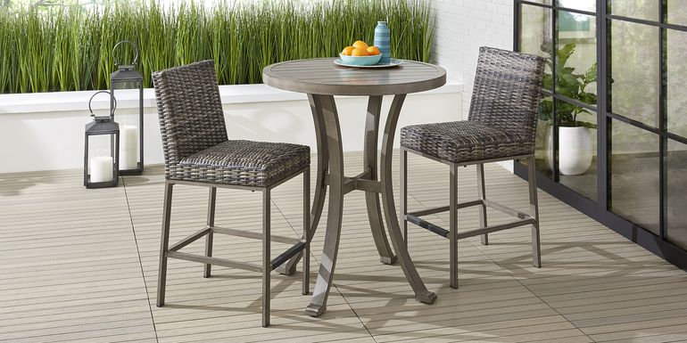 Cindy Crawford Home Montecello Gray 3 Pc 36 in. Round Outdoor Bar Height Dining Set