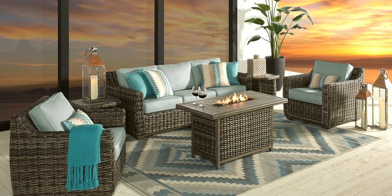 Cindy Crawford Home Montecello Gray 3 Pc Fire Pit Set with Seafoam Cushions