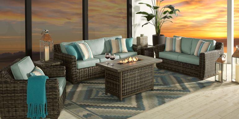 Cindy Crawford Home Montecello Gray 4 Pc Fire Pit Set with Seafoam Cushions