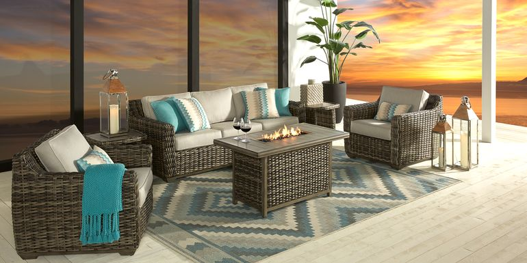 Cindy Crawford Home Montecello Gray 4 Pc Fire Pit Set with Silver Cushions